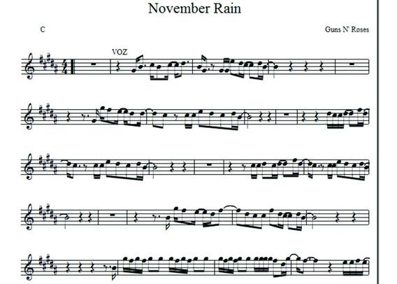 Partitura November Rain Formato Encore