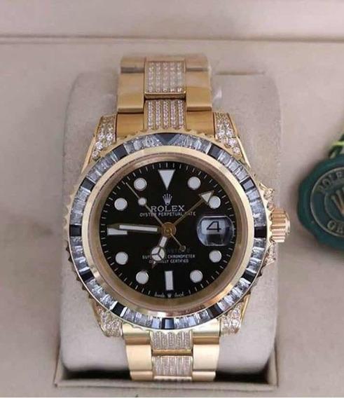 Relógio Gmt Ii Oysterlock Ouro Amarelo Cravejado Feminino