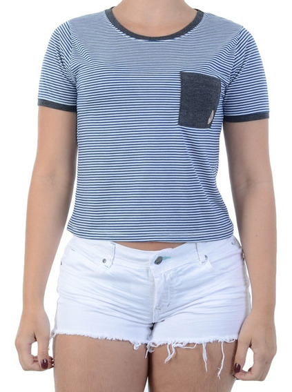 Baby Look Volcom Cropped Lived In Stripe