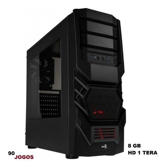Pc Cpu Gamer Amd 1 Tera Hd 8gb Ram Gtav Lol Wi-fi 90 Jogos