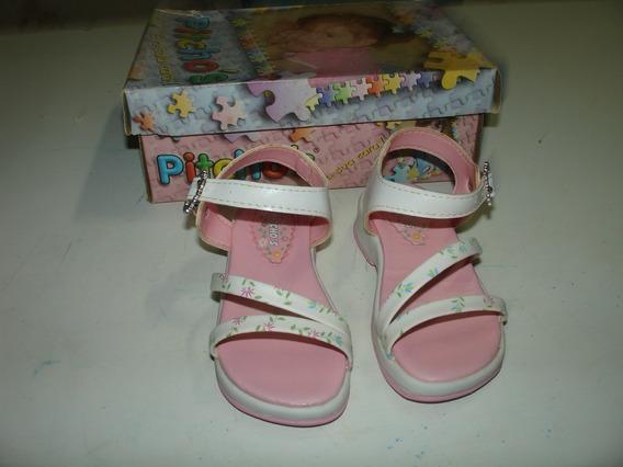 Menina Sapato Sandalia Florida Couro Color Fivela Picthos 20