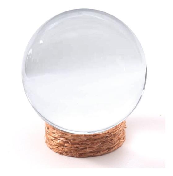 Bola De Cristal Fotografia 80mm (8cm) Com Suporte Rústico