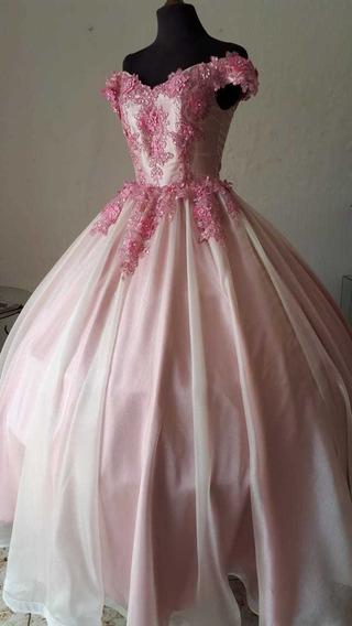 Vestido De Xv Años Rosa Con Perla Y Aplicaciones En 3d