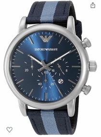 Relógio Empório Armani Pulseira Em Nylon Azul Listrad Ar1946