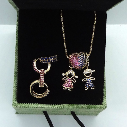 Imagem 1 de 5 de Conjunto Colar E Brincos Banhado A Ouro 18 K Pinkcat