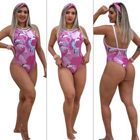 Body Feminino Maiô Cavado Regata Estampado/collant