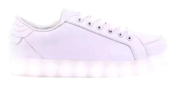 Zapatillas Footy Luz Led Y Usb Blancas Lisas Fty Calzados
