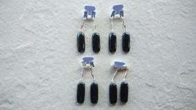 Brinco Pedra Obsidiana Cabochão Folheado Prata#10 Pares#