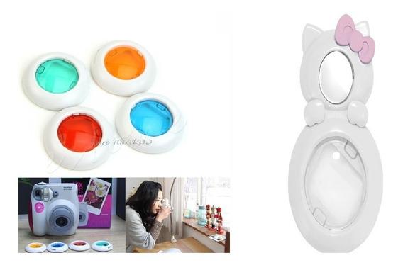 Lente Gato Câmera Instax Branca Selfie + 4 Lentes Coloridas