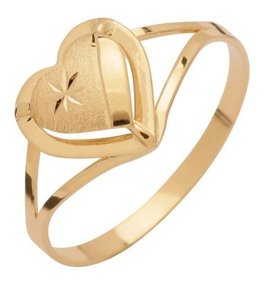 Anel De Ouro 18k Com Delicado Coração - Envio Rápido
