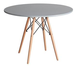 Mesa Eames Redonda 80cm Diseño Patas Haya Gris /chinatraders