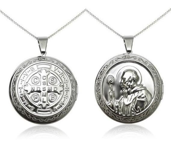 Colar Em Aço Inox Antialérgico Relicário Medalha São Bento