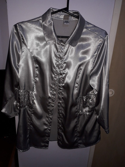 Camisa De Vestir Mangas 3/4 Tallem ( 3 ) Gris Plata