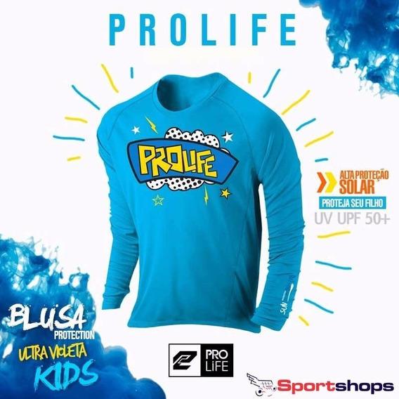 Camiseta De Alta Proteção Infantil Prolife Azul - 8 Anos