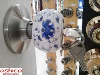 Cerradura Pomo Ashico Talavera Ceramica Con Llave Recamara