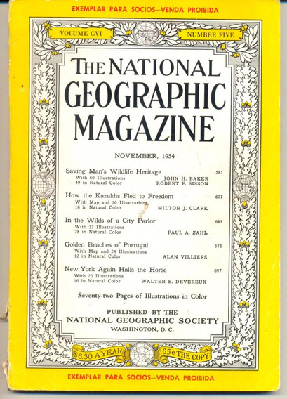 Revista National Geographic - Novembro De 1954 Antiga, Rara