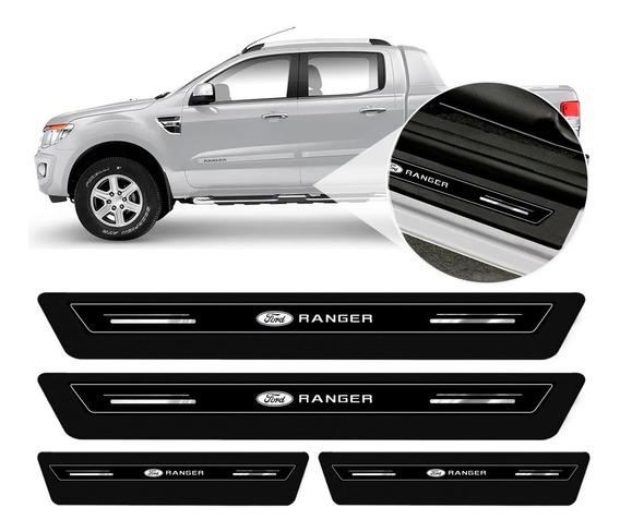 Soleira Protetor Porta Platinum Ford Ranger Cabine Dupla 2013 2014 2015 2016 2017 2018 2019 2020 - Preto