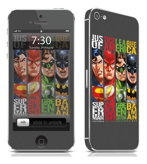 Adesivo Para Celular Liga Da Justiça - Para iPhone 5