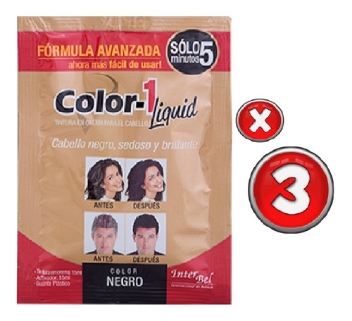 Tinte Cabello Color 1 Negro En 5 Minutos X 3 Sobres De 30 Ml