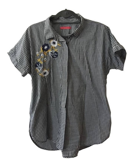 Camisa De Algodón A Cuadros Co Bordado Flores Yagmour