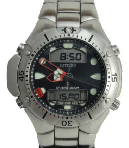 Relógio Citizen Aqualand Jp1060-52l - Diver - Mostrador Azul
