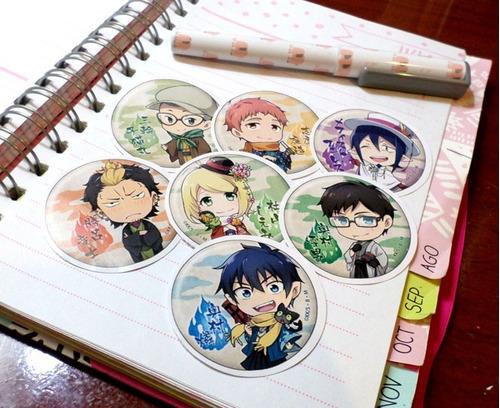 Set De 7 Stickers Circulares De Anime - Ao No Exorcist