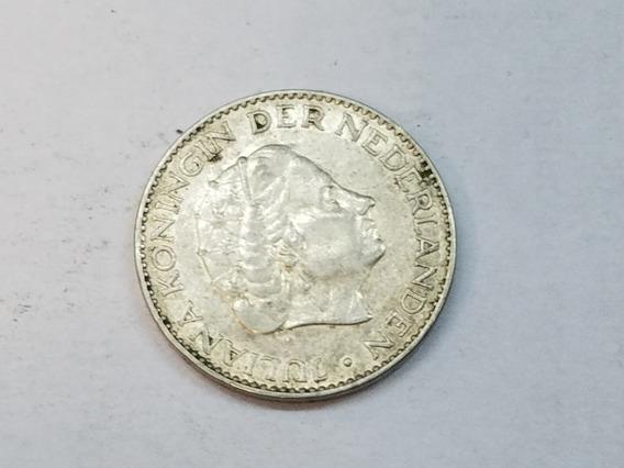 Moneda Juliana Koningin Nederlanden 1957 1 Gulden Plata