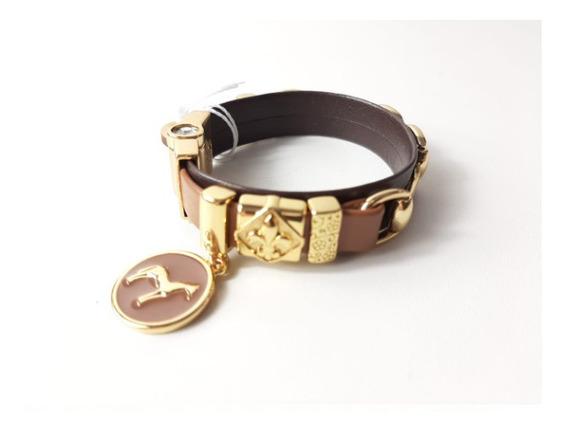 Pulseira Bracelete Flor De Lis Com Couro Semi Joia Cavalo 37