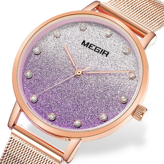 Relógio Feminino Megir Relógio De Quartzo Ultrafino 4215 Ros
