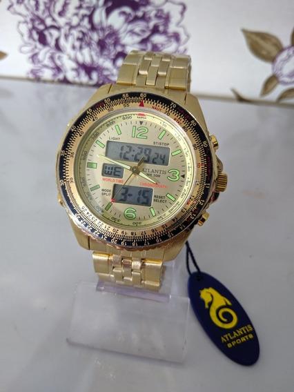 Relógio Atlantis Dourado Digital E Analógico