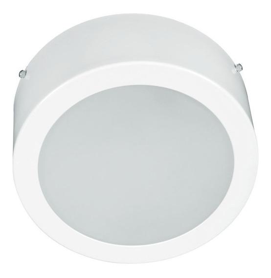 Luminária Sobrepor Redonda Branca Plafon Para Duas Lâmpadas
