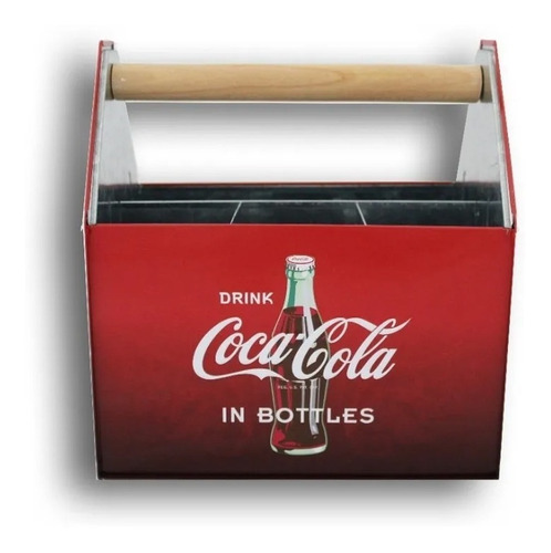 Porta Cubiertos Coca Cola Metal Original 4 Divisiones Manija