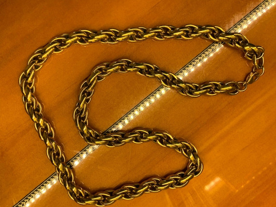 Cordão Aço Inox B.ouro 18k 64 Cm Escama 11mm