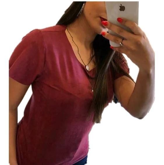 4 Camisetas Feminina Tshirt Blusa Camisa Suede Promocao