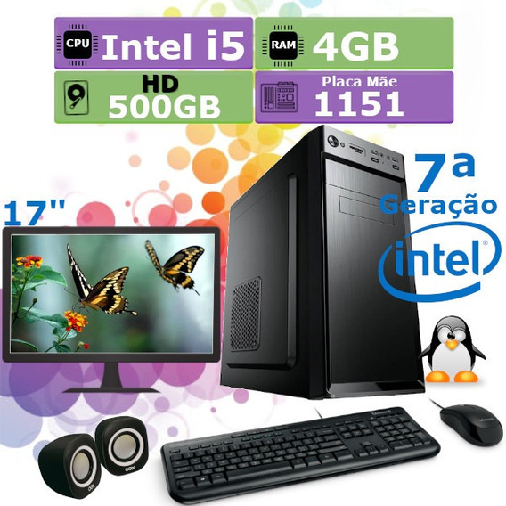 Pc Home 7ª Geração I5 7400 4gb Hd 500gb + Monitor 17