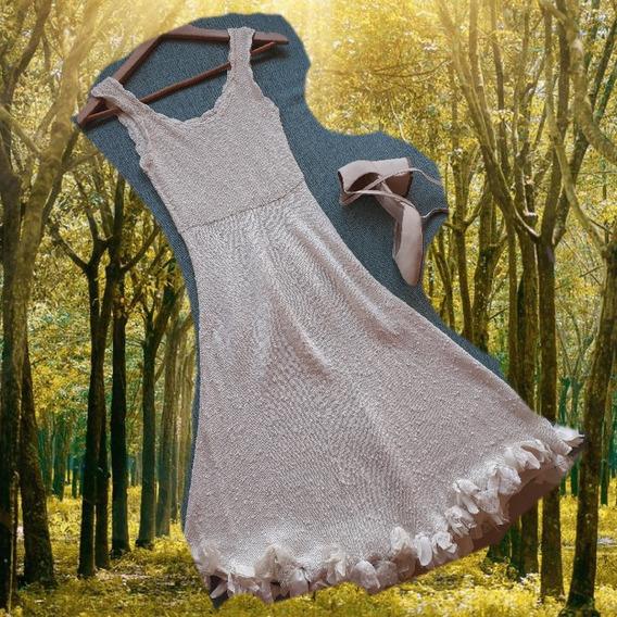 Vestido De Autor, De Hilo, Color Natural