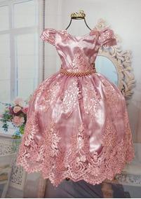 Vestido Infantil Rosa Rose Nude Formatura Do 4 Ao 12
