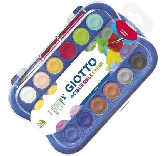 Kit Aquarela Giotto 24 Cores + Pincel Cores Intensas Escolar