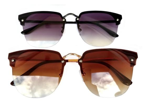 Óculos Quadrado Clássico Lente Degrade Proteção Uv 400