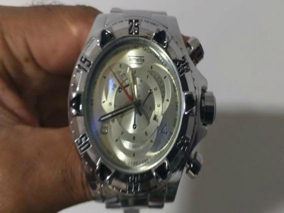 Relógio Temeite Prata Caixa Pesado Masculino Pulso Invicta