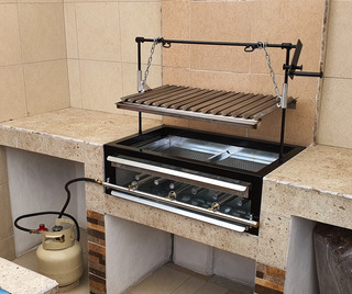 Asador Para Carne Parrilla Argentina Inoxidable Gas Y Carbon