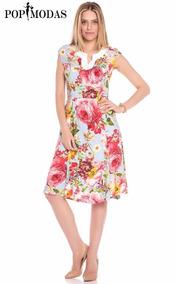 Vestido Evangelico,vestido Floral, Vestido Gode