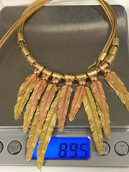 Colar De Griff Ouro18k C/pingentes Penas Ouro 750-89.6gr.
