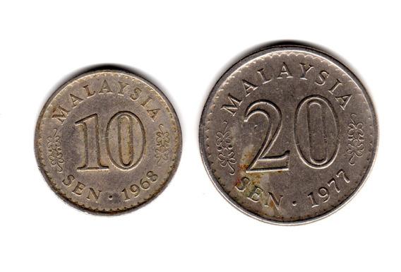 Malasia Lote 2 Monedas 10 Y 20 Sen Decada 60/70 Asia