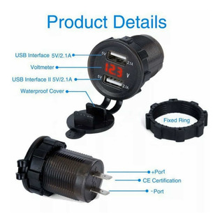 Carregador Celular Veicular Usb Voltímetro