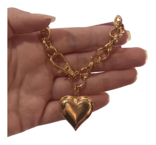 Pulseira Dourada Corrente Coração