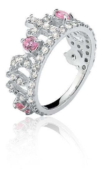 Anel De Prata Coroa Cristal Rosa