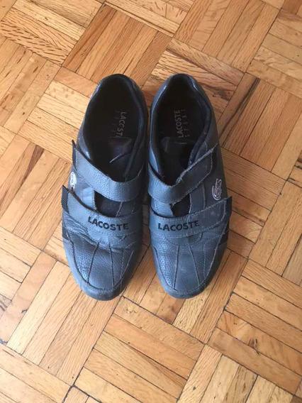 Lacoste Sneakers Tenis Gris Com Negro Sport Men