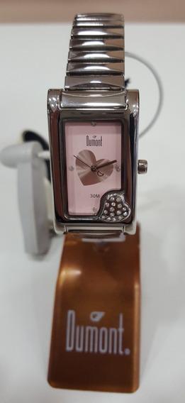 Relógio De Pulso Dumont Sf55047 Prata Rosa Quadrado Feminino