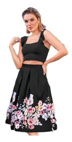 Falda Negro Multicolor C/flores Larga Cklass 983-07